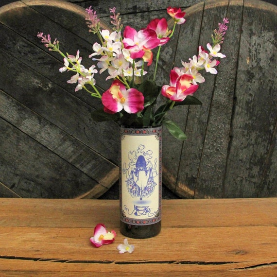 Southern Belle Wine Vase, Utensil Holder, Ice Bucket, Centerpiece, Craft Supply, Empty Top Cut Bottle, Desk Organizer, Recycled Bottle Decor
