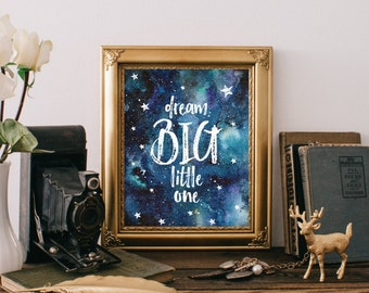 Nursery art print, Quote print, Nursery art print, Dream big little one, Nursery printable wall decor, Dream big print, Nursery art BD-800
