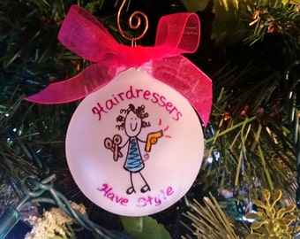 hairdresser ornament,hair dresser,custom personalized christmas ornament,hair dresser gift,gift for hair dresser, ornament