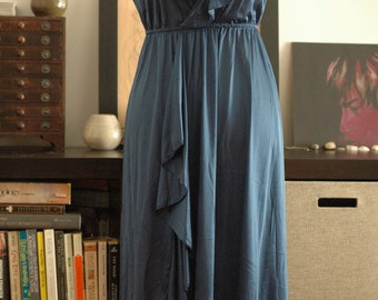 Dusty blue deep V ruffle maxi nightgown S/M