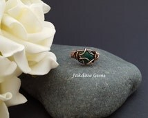 Hand Woven Green Onyx and Copper Ring