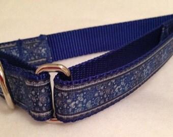 Denim Dog Collar, Denim Look Dog Collar with Hearts, Western Dog Collar, Rodeo Dog Collar, Martingale Dog Collar