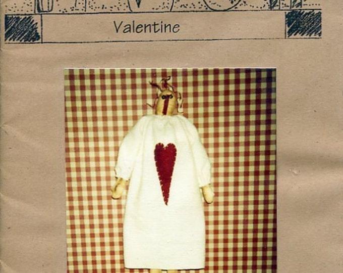 "FREE US SHIP Lizzie's Home Spun Primitive Folk Art Doll Valentine Annie 25"" Old Store Stock Sewing Pattern Ragdoll cloth"