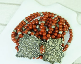 Red Jade and Silver Bead Necklace With Silver Grape Leaf Clasp     *m