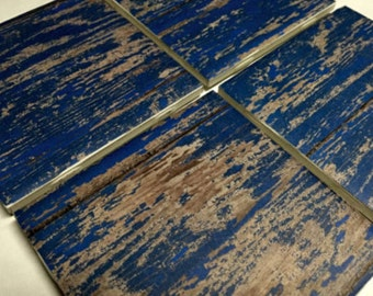 Blue Coasters, Blue Wood Design Ceramic Tile Coasters, Rustic Coasters