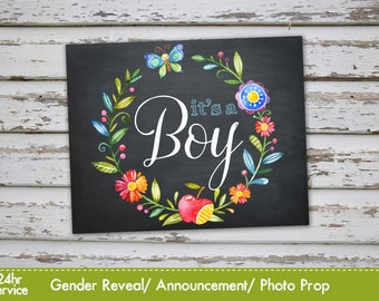 It's a boy, Gender Reveal Baby Shower Announcement, Baby Boy Gender reveal Photo Prop Chalkboard Announcement INSTANT DOWNLOAD