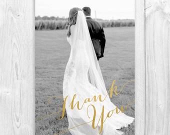 Printable Photo Wedding Thank You Card, Calligraphy Thank You Card, Wedding Thank You Card, Gold Foil