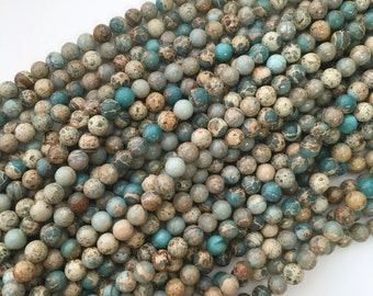 African Opal, 8mm Beads, Gemstone Beads, 8mm Gemstone Beads, Impression Jasper, Natural Beads, Multi Color Beads, African Beads, 6mm Beads