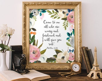 Christian Wall Art, Come to me all who are wary Matthew 11:28, Bible Verse Wall Art, Printable Home Decor, Apartment Decor
