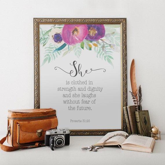 Dignity Wall: Scripture Wall Art She Is Clothed In By Blueelephantprints