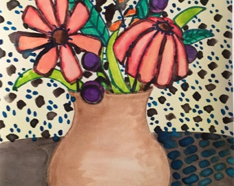 Colorful flower vase watercolor