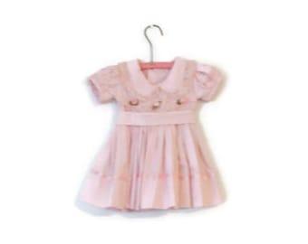 Handmade Vintage Toddler Pink Polka Dot Girl Dress / Baby Clothes
