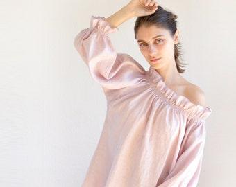 Linen blouse, off shoulder top linen, plus size linen tunic, linen womens clothing, summer linen top, linen tunics for women