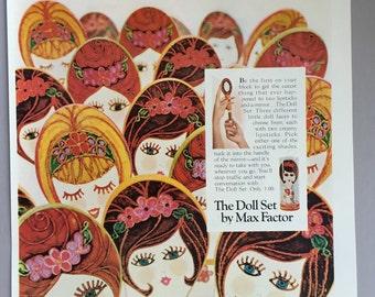 1967 Max Factor Print Ad - The Doll Set Lipsticks
