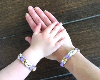 Matching Bracelets, Braided Leather Bracelet Set, Lavender Essential Oil Diffusing Bracelets, Mother Daughter Bracelets, Mommy and Me