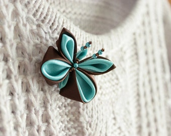 Turquoise butterfly brooch Mint brown textile jewelry Kanzashi Gift for girl Cute broochs woodland jewelry Nature lover gift Christmas gifts