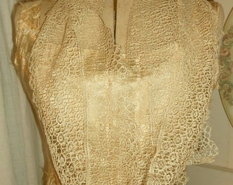 """Lot Antique Silk Wide Ivory Lace - 3yds 24"""""""