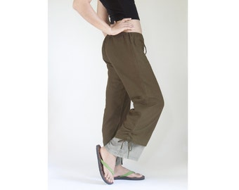 SALE - 30% Disc, Summer Beach Casual Drawstring Pants, Loose Fitting Maternity Cotton Pants in Dark Brown