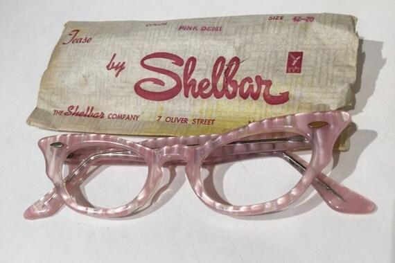 Vintage Eyeglass Frames New Old Stock : Vintage Pink Cat Eye Eyeglasses New Old Stock Pink Cateye