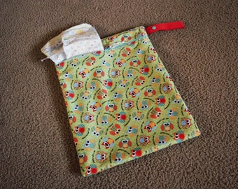 Owl Wet Bag/ Diaper Bag. leakproof, waterproof. Perfect Baby Shower Gift. Free Shipping.