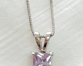 Lavender Amethyst and Sterling Silver.925 Pendant Necklace with Box Chain