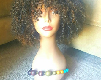 READY TO SHIP!!! Kinky Curly Full Wig with Bangs