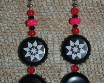 Black Bottle Cap Earrings