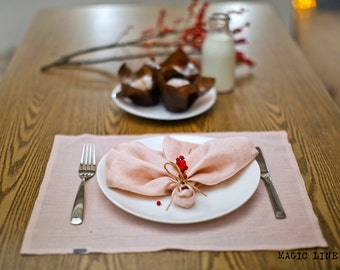 Stone washed linen napkins set. Pink table napkins. Set of 4, 6, 8. Softened linen napkins. Pink napkins. Organic napkin cloths.