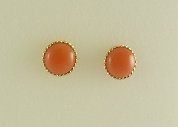Pink 7 mm Coral Stud Earrings 14k Yellow Gold Post and Push Backs