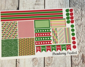 Christmas Themed Planner Stickers in Red and Green- Made to fit Horizontal Layout