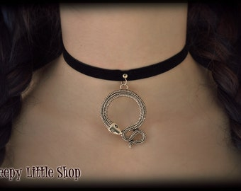 Ouroboros necklace,snake choker necklace,snake choker,snake charm,ouroboros jewelry,velvet choker,gothic choker,snake jewelry,symbol choker