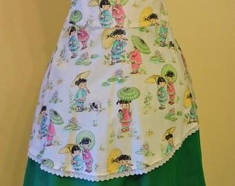 Asymmetric Skirt, Classic lolita skirt, Lolita skirt, Print skirt, High waist skirt, Style Midi,Sweet lolita Skirt, Green Skirt
