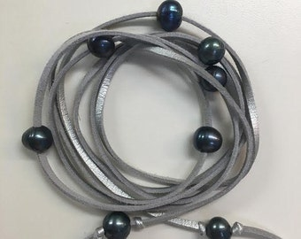 Silver Suede and Gray Pearl Wrap