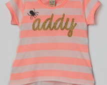 Girly Striped Halloween Shirt, Personalized Halloween High Low Tee, Super Cute Halloween Girly Glitter Shirt - Personalized