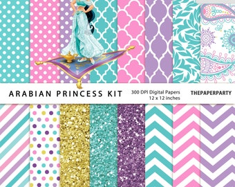 Jasmine Princess 16 Digital Papers kit Aladdin DIY Invitations Printables Labels