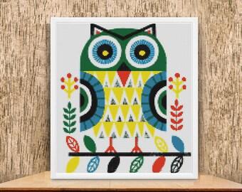 Owl Cross Stitch Pattern, Beginners Mini Owl Cross Stitch Pattern, modern cross stitch, PDF, Instant download