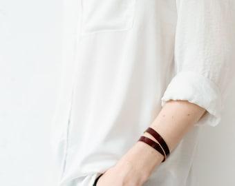Leather bracelet, Double wrap bracelet, Women leather bracelet, Leather bangle Maroon leather bracelet wrap around wrist, wrap bracelet