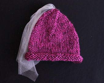 Magenta Princess Knitted Toddler Hat