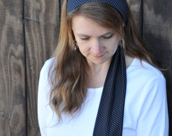 Women's Black Polka Dot Stretch Hair Wrap, Headband, Headscarf, Hair Tie, Headcovering, Head Covering, hair scarf, handmade unique gift