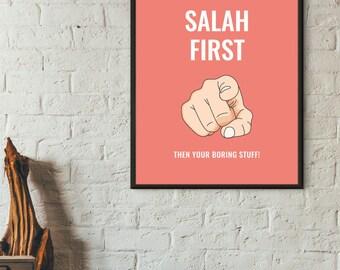 Salah/Salat/Namaz First Islamic Art Print Red, Instant Download, Modern Islamic Design,Contemporary Islamic Print, Islamic Humor, Priorities