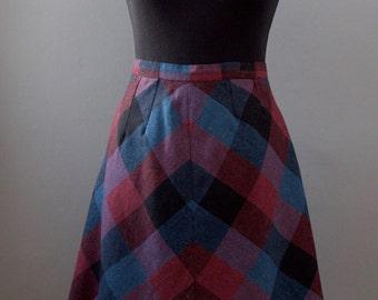 70s Tartan Vintage Skirt || Red, Blue, Purple, Black 70s Skirt