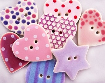 8 Assorted Pink and Purple Buttons, Handmade Buttons, Sewing Buttons, Ceramic Buttons, Craft Buttons