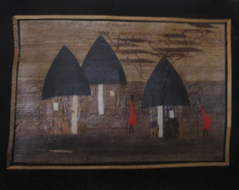 Kenyan Bark, Straw and Paper Art, Village Scene