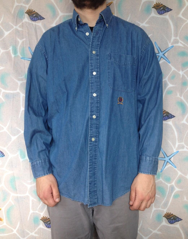90s tommy hilfiger denim button up shirt th logo on front. Black Bedroom Furniture Sets. Home Design Ideas
