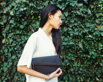 Black Leather Clutch, Black Suede Clutch, Vegan Clutch, Vegan Suede, Fold Over Clutch, Black Fold Over Clutch, Purse, Suede Clutch
