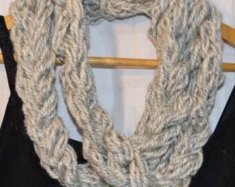The Stephanie Scarf: infinity.circle.necklace.cowl.long.extra long.warm.soft.chunky.yarn.handmade.cream.neutral.gray.light.spring