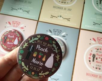 "CUTE WEDDING Magnets (Cute01) 50 sets, size 2.25"" 58mm, wedding magnets, save the date magnets, custom magnets, wedding invitation magnets"