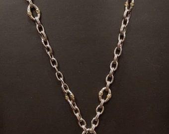 Designer inspired, Heart Pendant Necklace, Silver Tone Chain, Gold & Silver Tone, Elegant, Classic, Toggle Clasp, Rhodium Plated,