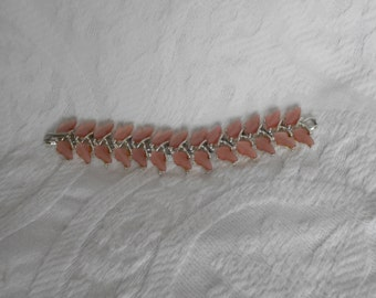 Vintage Signed BSK Bracelet - Pink Leaves Silver Tone Thermoset Bracelet - Retro Pink and Silver Bracelet - Ready to Ship