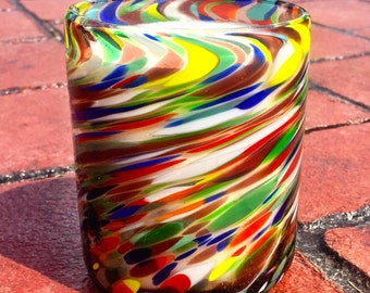 """Hand Blown Recycled Glass """"Multi-Color Swirl"""" Tumbler Vanilla Soy Candle"""
